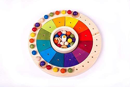Calendario Waldorf Montessori en madera 33 cm, Juego Educativo para Niños, Juguete Didáctico